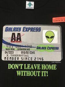 vtg-Galaxy-Express-UFO-License-ALIEN-EIGHT-AREA-51-GLOW-in-DARK-T-SHIRT-L-Black