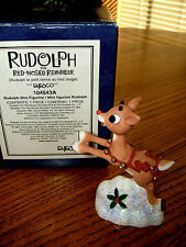 "Enesco Rudolph the Red Nosed Reindeer 3"" Mini Figurine EUC Boxed #104543A 1992"