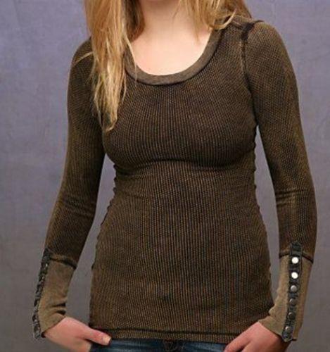 Free People schwarz Damsel Snap Button Cuff Thermal Top Shirt M Rare