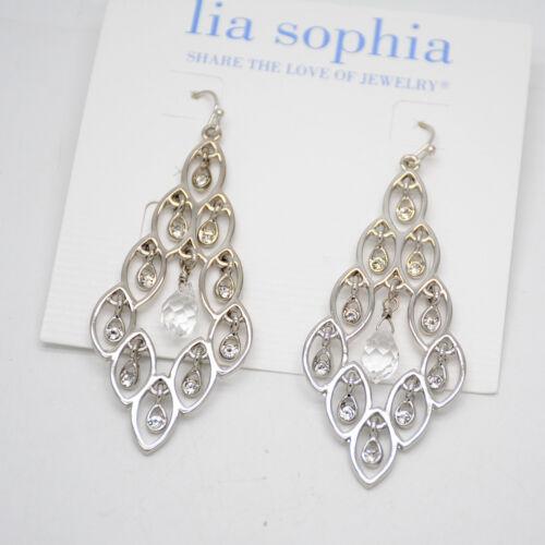 lia sophia jewelry black rope chain silver tone cut crystals pendant necklace