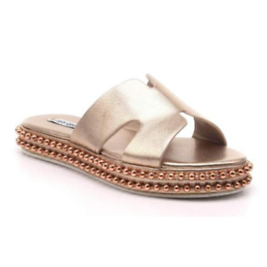 Details about Cape Robbin RUSH Rose Gold Open Toe Slip On Cut Out Beaded Trim Flat Slide