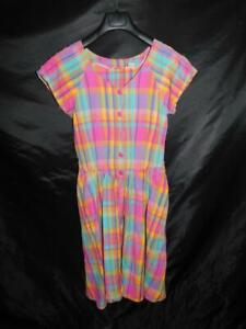 Vintage-Ulterior-Motives-9-S-Pink-Orange-Blue-Plaid-Shirt-Dress-Short-Sleeve
