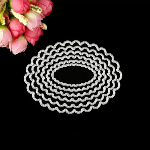 6pcs oval metal cutting dies stencil scrapbook album paper embossing craft FO