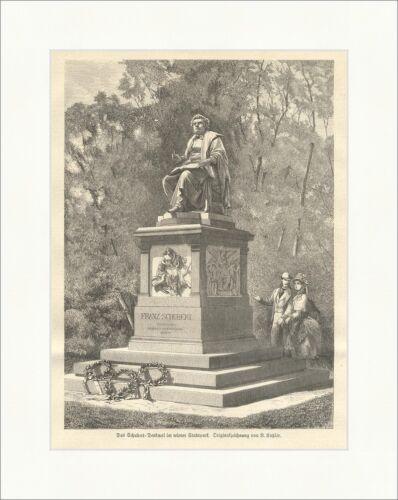 Das Schubert Denkmal im wiener Stadtpark K/&K Komponist Katzler Holzstich E 7341