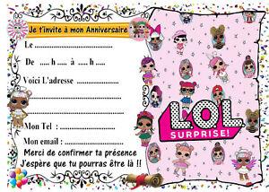 Détails Sur 5 Cartes Invitation Anniversaire Lol Surprise N7