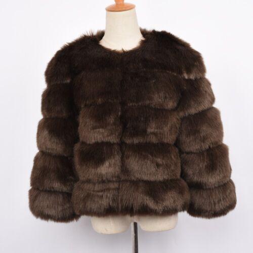 2019 New Faux Fur Coat Winter Women Outwear Warm Cropped Jacket 5 Rows 58400