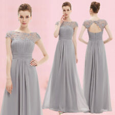 Ever Pretty Us Grey Bridesmaid Dress Lace Beaded Long Prom Evening Dresses 09993