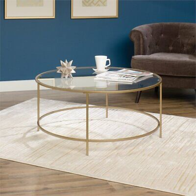 Tremendous Sauder International Lux Round Coffee Table In Satin Gold Ebay Machost Co Dining Chair Design Ideas Machostcouk