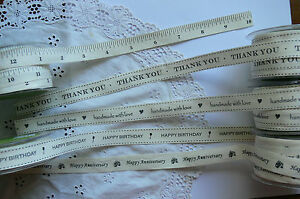 Mixed-Words-Cotton-Ribbon-3-Mtr-Length-21mm-Wide-BLACK-Print-5-Style-Choice-BR1