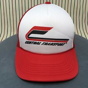 273-VTG-Central-Transport-Trucker-Hat-RED-White-Snapback-Mesh-Baseball-Cap-90s