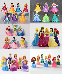 7Pcs Bullyland Ariel Princess Snow White Cinderella Anna Figures Cake Toppers