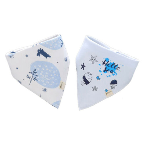 2 Pack Infant Baby and Toddler Bandana Drool Bibs Absorbent Cotton Saliva Towel
