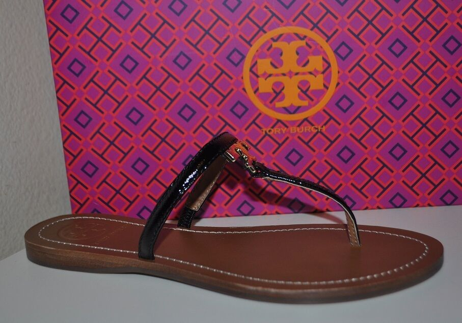 NIB Tory Tory Tory Burch T Logo Flat BLACK Thong Sandal Sz 11 M gold Logo NEW 791cd4