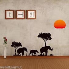 African Safari Elephants Decorative Removable UK Wall Sticker
