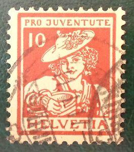 Suisse-oblitere-n-153-10c-5c-Vaudoise-pro-juventute-pour-la-jeunesse-1916