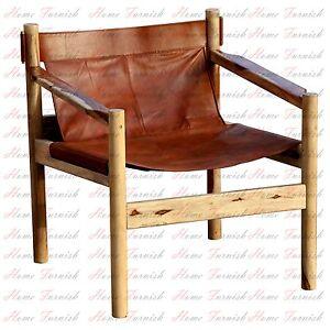 handmade wanderloot genoa solid sheesham and leather sling chair ebay
