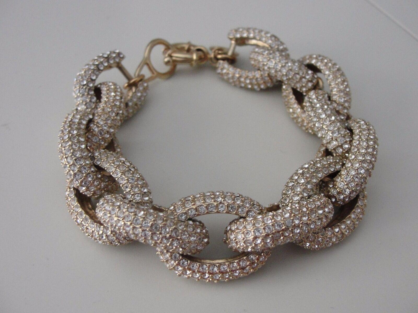 J Crew CLASSIC PAVÉ LINK BRACELET gold Jewelry Statement Rhinestone Blogger  125