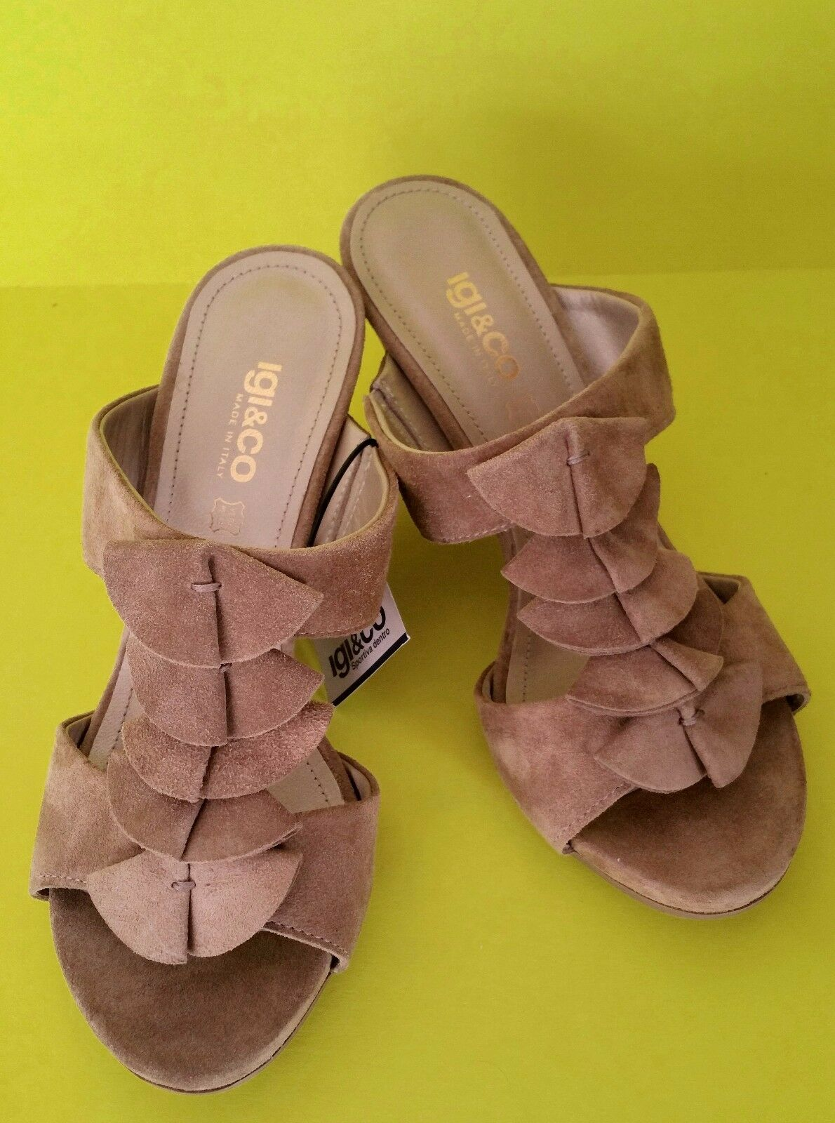 IGI & CO kvinna Heel Sandals Wedge Wedge Wedge Flip Flops skor Beige mocka Made in   billig