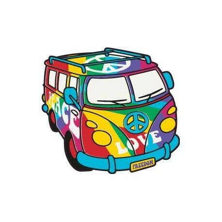 Van Peace and Love voiture autocollant sticker adhesif