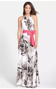 Eliza J Women S Floral Print Chiffon Halter Maxi Gown With Sash