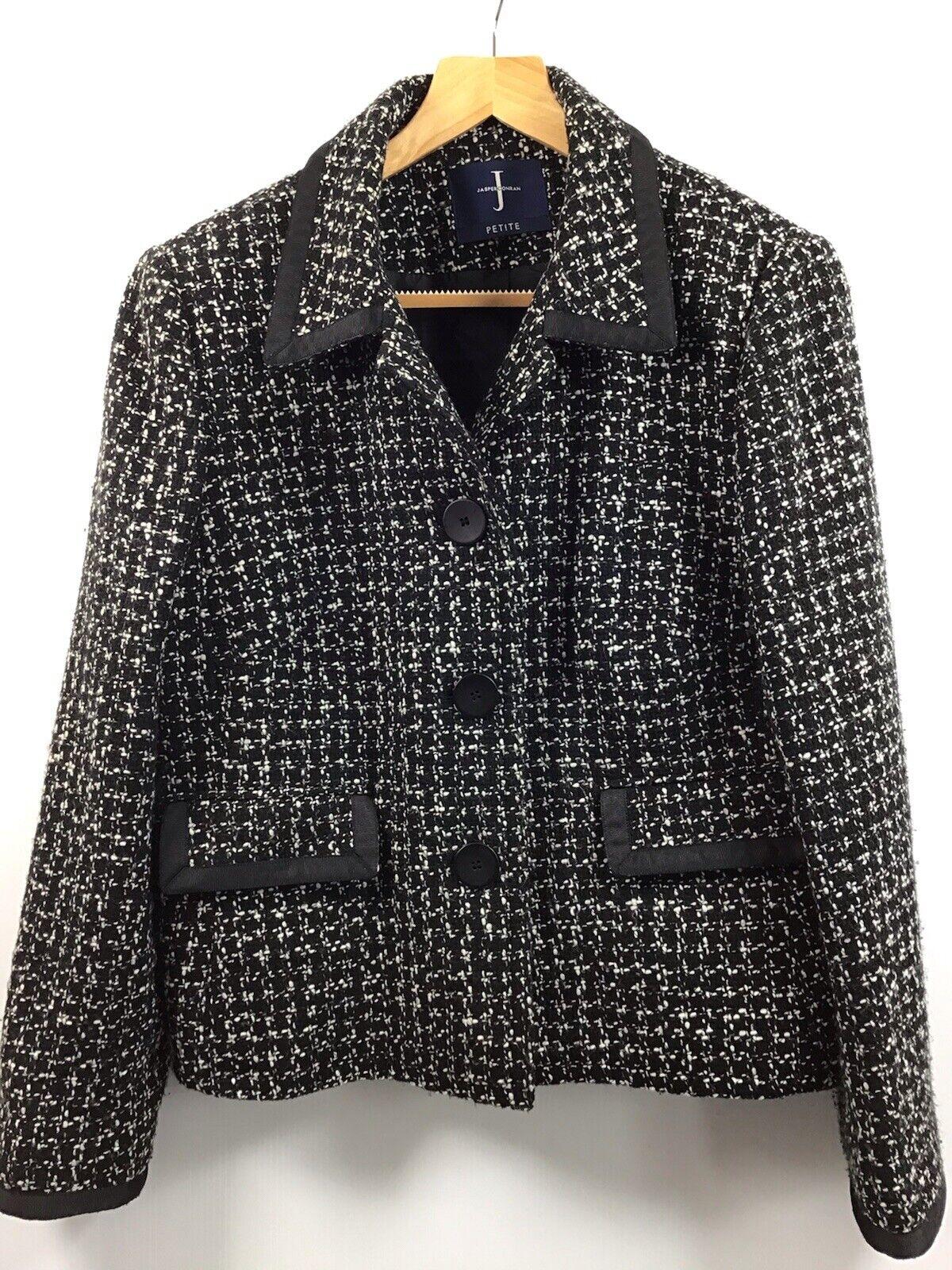 Jasper Conran Black & White Tweed Women's Short Jacket Wool Blend Size 16 Petite