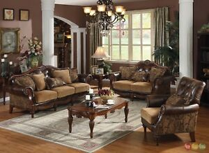 Details about Dreena Traditional 6 pc. Living Room Set Carved Cherry Wood  Frames w/Tables