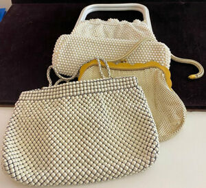 Lot of 3 Vintage White Beaded Purses Bags VV974
