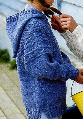 Hooded sweater-Cable design- knitting pattern in Aran wool- fits chest 22-32""