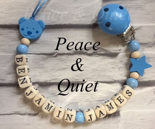 Personalised Dummy Clip⭐️Wooden⭐️Dummy Chain⭐️14 Letters⭐️Long Name⭐️gift #WWW