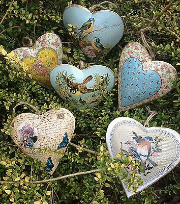 NEW VINTAGE STYLE LARGER METAL HEARTS WITH BIRDS & FLOWERS DECORATION GIFT
