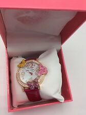 $135 BETSEY JOHNSON Goldtone Stainless Steel and Leather Butterfly Strap Watch