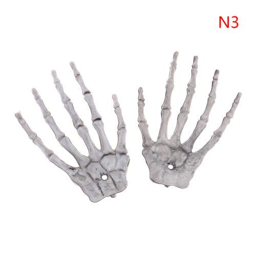 2X Halloween Skull Skeleton Human Hand Bone Terror Adult Scary Prop DecorationS*