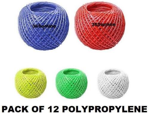 String Cord 12 x polypropylène torsadée ficelle string 20 M Hobby /& Craft
