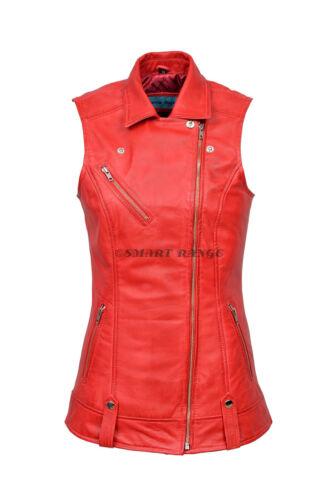 Ladies Leather Waistcoat RED Motorcycle Biker Style Steam Punk REAL NAPA 6385