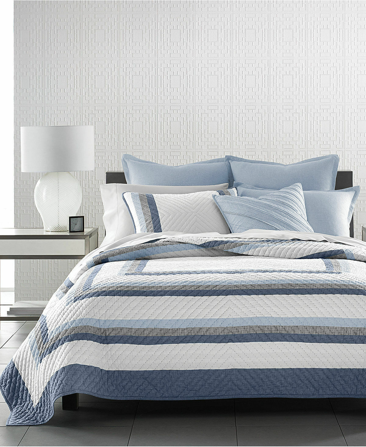 Hotel Collection Frame Striped Handquilted Coverlet KING blu Retail  400