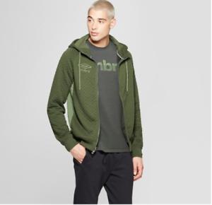 NEW-Umbro-Men-039-s-Quilted-Fleece-Full-Zip-Hoodie-Bronze-Green-Size-Small