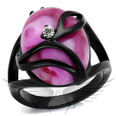 Brilliant Oval Shape Fuchsia Synthetic Cat Eye Fashion Ring 5 6 7 8 9 10 TK1144J