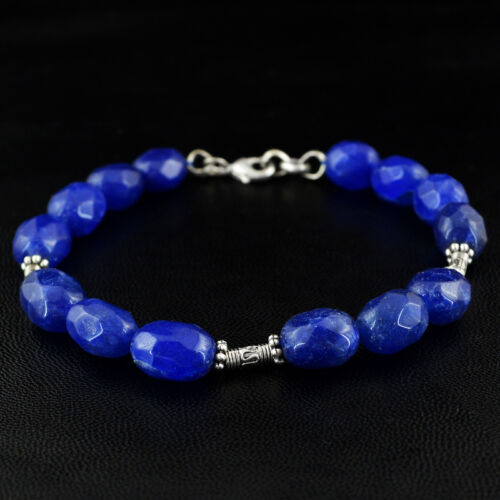 144.40 CTS EARTH MINED UNHEATED RICH BLUE SAPPHIRE OVAL FACETED BEADS BRACELET