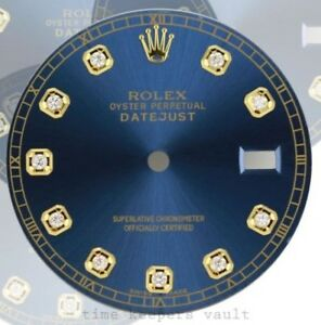 Custom-Mens-Blue-Genuine-Diamond-Dial-with-Tracker-To-fit-Rolex-Datejust-36mm