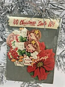 Vintage-Christmas-Package-Gummed-Seals-Stickers-Angel-Poinsettia-40-Antique