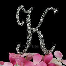 "3-Inch Crystal Rhinestone Silver Letter ""K"" Monogram Wedding Cake Topper"