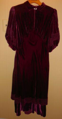 Vintage 30s Deep Plum Red Velvet DRESS Puffed Slee
