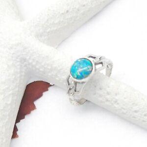 Dichroic-Glas-blau-Nixe-Meerjungfrau-Design-Ring-18-75-mm-925-Sterling-Silber