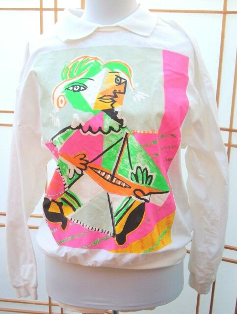 Vintage Women's Picasso by Aaahs! sz M white made in USA Blouse Top Shirt