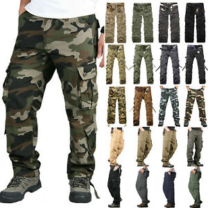 Mens Army Military Cargo Combat Casual Trousers Camo Camouflage Long Pants Work