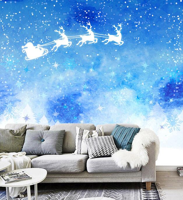 3D bluee Christmas 754 Wall Paper Murals Wall Print Wall Wallpaper Mural AU Kyra
