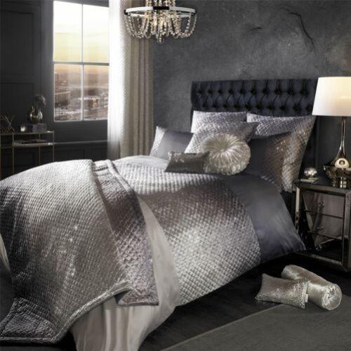Kylie Minogue GIA Silber Steppdecke Bettwäsche oder Schlafzimmer Zubehör Samt