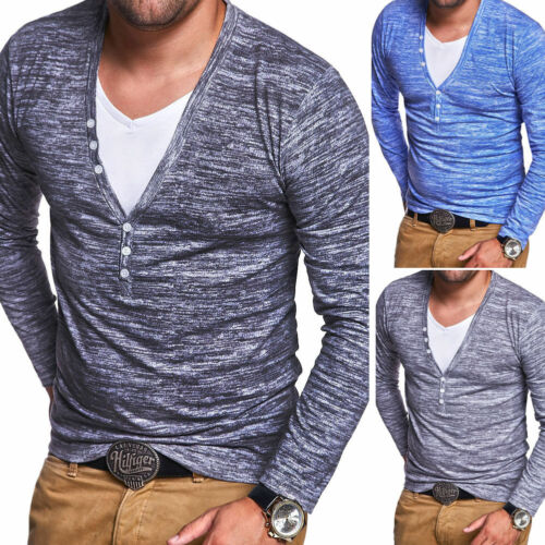 Longsleeve 2in1 T-Shirt Herren Langarmshirt Pullover Sweatshirt Grau//Blau NEU