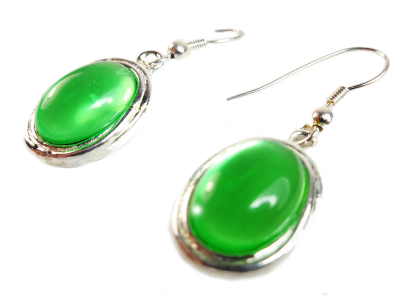Elegant Green/silver Summer Inspired Bright Gemstone Vibrant Drop Earring(zx11)