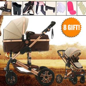 Baby-Pram-Stroller-Bassinet-Reversible-Reclining-Fold-Buggy-Jogger-Lightweight